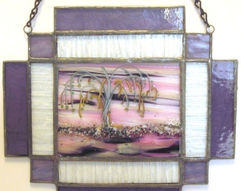 Weeping Willow fused glass panel set in stained glass sunset colors pink and purples