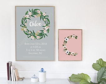 Baby Girl Personalized Nursery Decor - Baby Birth Details with Floral Wreath Detail CUSTOM Digital Artwork