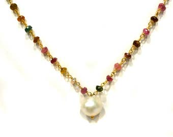 Watermelon Tourmaline Faceted Gemstone Beads and Fresh Water Pearl Bead Necklace 15 inches long beaded chain handmade Bridesmaid necklaces