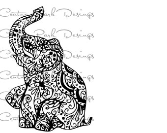 Elephant 002 mandala SVG / JPEG / PNG /pdf / use with Silhouette Studio and Cricut Design Space  - Commercial Use - Adult Coloring Page
