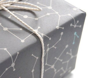 """Eco-friendly Wrapping Paper """"Gray Molecules"""" Set of 2"""