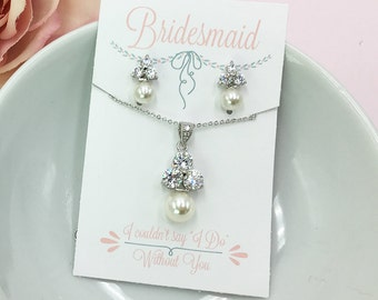 Bridesmaid Pearl Jewelry Set, CZ Earrings Necklace, Bridesmaid Jewelry Gift, Bridesmaids Necklace Set, Personalized Jewelry 483693337
