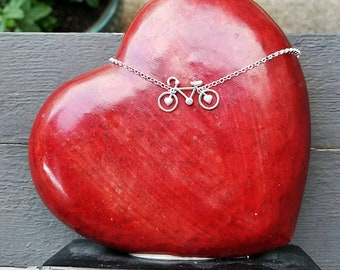 Artisan Sterling Silver Little Bicycle Necklace,  Love Biking,  minimalist,  cycling,  solid sterling silver handmade pendant with hearts