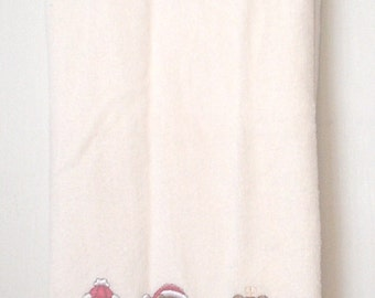 Vintage All Cotton Barth and Dreyfuss Holiday Towel A Beary Merry Christmas 25 x 44 Inches Applique Embroidery Snowman Santa Angel Noel EC