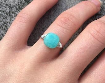 Best Seller! Peruvian Opal Ring | Aquamarine Ring | Soft Teal Ring | Medium Square Ring | Blue Green Ring | Tropical Blue Ring | Boho Ring