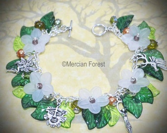 Hawthorn Flowers Pagan Bracelet - Handmade Pagan Jewellery Inspired by Beltane, May Day, Maying, Goddess, Greenman, Wicca, Witch, Sabbat