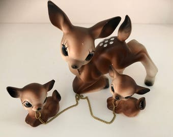 Vintage Deer Buck Doe with Chained Babies fawn/Bambi/Deer/Big eye deer figurine/Leashed Animals/Momma Deer/Baby