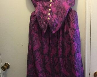 Vintage halter top and skirt magenta pink vines print