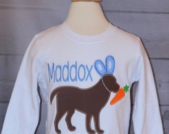 Personalized Easter Dog Bunny Applique Shirt or Bodysuit Girl or Boy