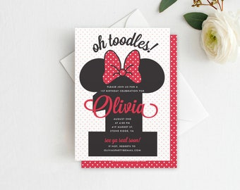 Minnie Mouse 1st Birthday Invitation - First Birthday, 1st Birthday, Minnie Invitation, DIY Template Printable Editable & INSTANT DOWNLOAD