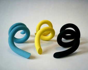 Set of 3 ceramic sculptural forms, interactive, extra smooth stoneware.