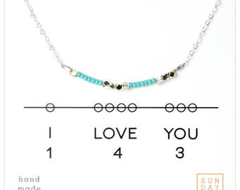 Secret Code Necklace - Friendship Necklace - I love you 143 Necklace - Blue Gifts for Her