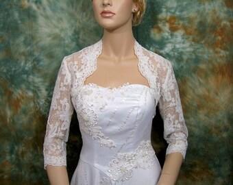 lace bolero wedding, wedding bolero, bolero jacket, ivory 3/4 sleeve bridal alencon lace wedding bolero jacket
