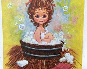 Artist Jan Bell's Little People, boy and girl, bathtub prints, sunshine sampler prints, vintage prints, Jan Bell, Texas, Hudlow Art Gallery