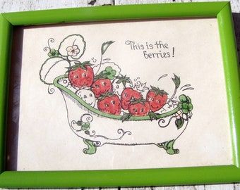 "This is the Berries!"" Happy Strawberries in Bath, original framed art, 7 1/2 by 6, ready to hang"
