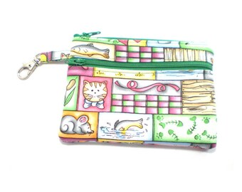 Larger Zippered Wallet Change Purse Gadget Case Cat and Mouse Patchwork 4736