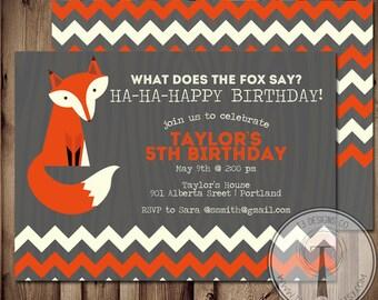 What Does the Fox Say Invitation, fox birthday invitation, what does the fox say birthday, printable birthday invite