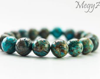 10mm Blue and Brown Agate Bracelet - Agate Bracelet, Mens Beaded Bracelet, Bracelet for Women, Gemstone Bracelet, Agate Bead Bracelet