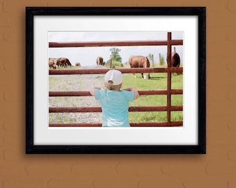cow art gift longhorn Hereford calf bull cattle ranch farm painting pen&ink watercolor print