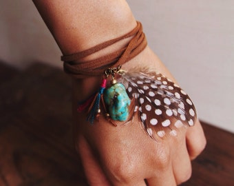 TTFN-02, colorful tassel and turquoise necklace/bracelet with feathers