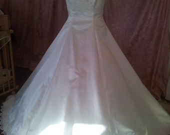 Lovely traditional immaculate white satin wedding dress and beaded Princess dress
