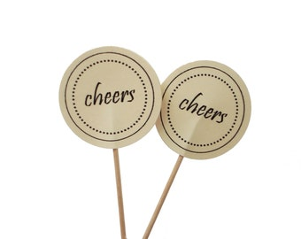 Cheers Cupcake Toppers 10CT, Wedding Decoration, New Years Eve Party, Cheers Party Picks, Birthday Toppers - No1104