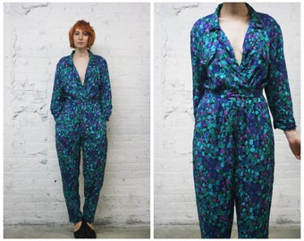 vintage 80s Diane Von Furstenberg jumpsuit / DVF sexy low v neck abstract print