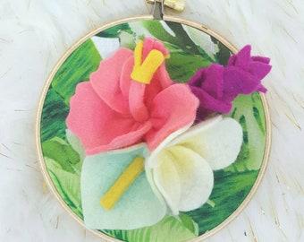 Summer hoop art, tropical hoop art, summer wall art, summer decor, nursery decor, nursery wall art, tropical theme, tropical flowers