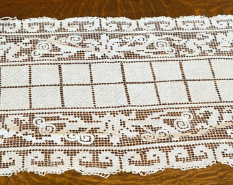 "Lace Table Runner, Vintage Filet Crochet Table Runner, Darned Netting, 42"" by 13"", Filet Crochet"