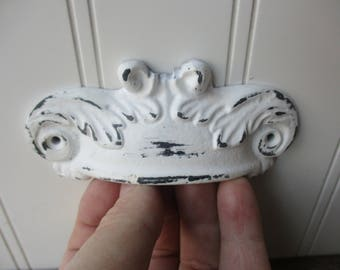 "Shabby white drawer bin pull ornate scalloped 4"" inch screw on cast metal cup handle vintage antique style hardware"