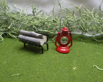 Fireplace Logs and Red Lantern For Fairy Garden or Dollhouse