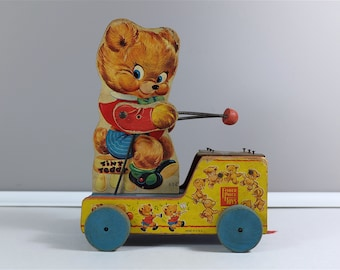 Vintage Fisher Price Tiny Teddy #634 - Original 1955 version Tiny Teddy by Fisher Price toys - Xylo Player All Wood - Partial Pull String