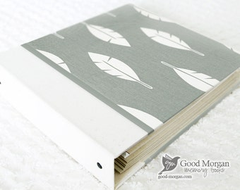 0 to 12 months Baby Memory Book - Grey Feathers
