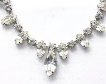 Weiss Crystal Rhinestone Choker Necklace, Bridal, Wedding Jewelry, Glamour Mid Century, Designer, Fringe Necklace