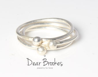 Sterling Silver Rings, Stacking Rings, Nugget Stacking, Sterling Silver Stacking Rings, Stackable Rings