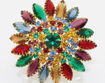 Vintage Sunburst Brooch of Red Green Blue and Gold Rhinestone