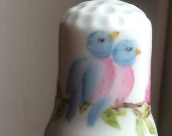 Thimble hand painted with Blue Song Birds and a Pink Rose