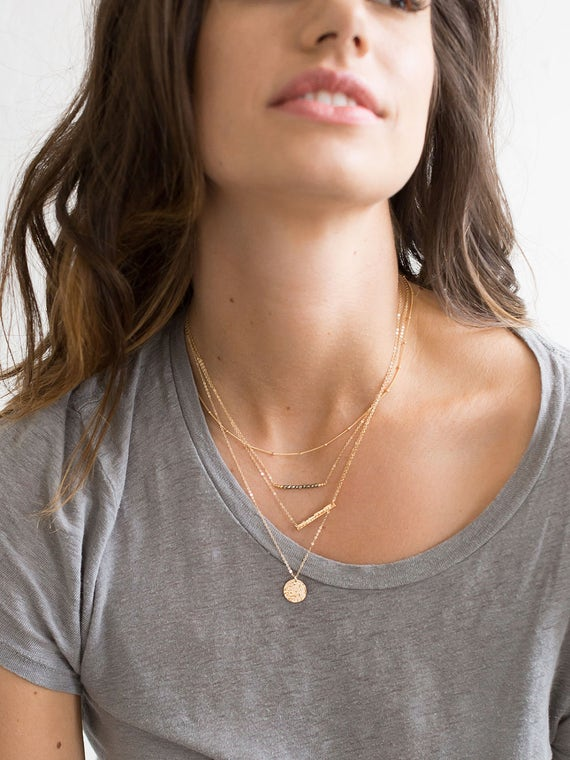 Set 905 Dainty Layering Necklaces Silver 14k Gold Filled