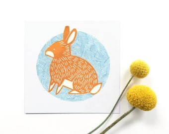 Rabbit Illustration Linocut Print