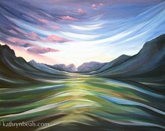 Surreal Sierra Mountain Painting - Landscape Canvas Print