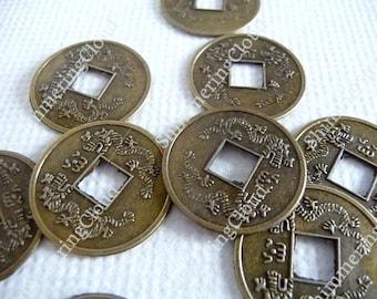 Feng shui coins, bronze feng shui coins, antique gold feng shui coins, lucky coins, good luck coins, feng shui, coins, bronze, big coins,