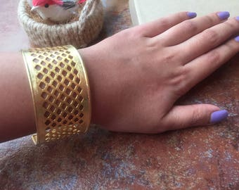 Stunning Gold Metal Adjustable Statement Cuff Bracelet with Intricate Filigree - Fashion Jewelry for Women