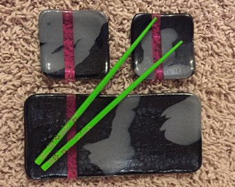 Black Gray and Pink Fused Glass Sushi Set - See description for size