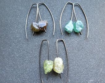 rough gemstone earrings. raw stone jewelry. hypoallergenic earrings.