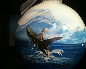 HUMPBACK WHALE personalized hand-painted glass ball Christmas ornament