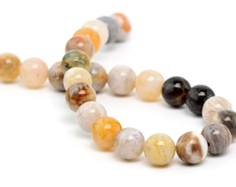 "8MM Bamboo Agate Natural Gemstone Round Shape Half Strand Loose Beads 7.5"" (100160h-261)"