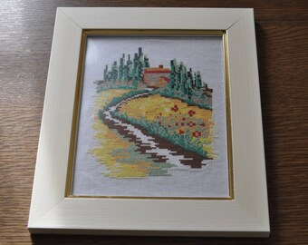painting of a Provence landscape cross stitch