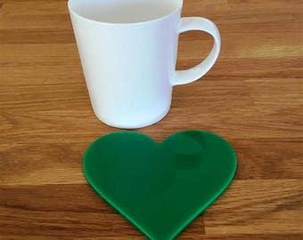 Heart Shaped Green Gloss Finish Acrylic Coasters
