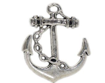 Navy anchor charm/pendant in Silver (x 2)