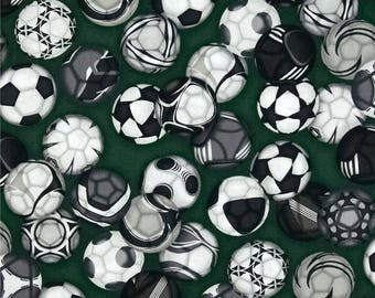 Robert Kaufman Soccer Balls on Green - BTY Cotton Fabric - Choose your cut